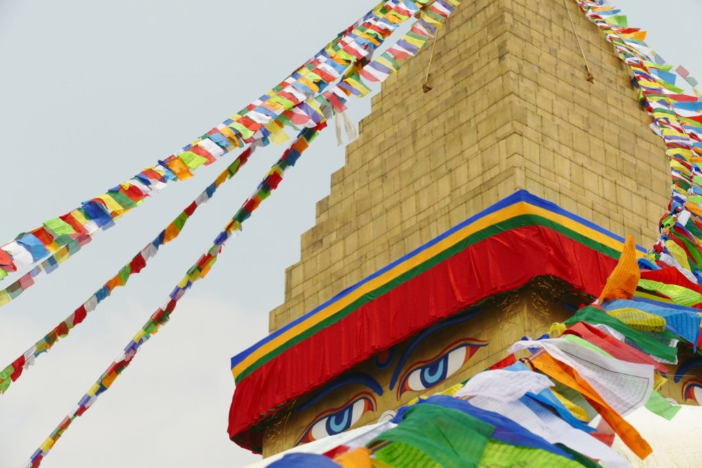 Gli occhi del Buddha dipinti sulla stupa di Boudhanath