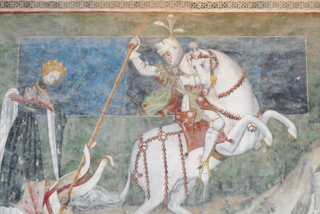 Affresco con Re Giorgio che uccide il drago