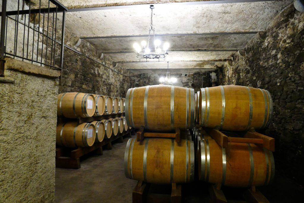 Cantina con il vino in barrique
