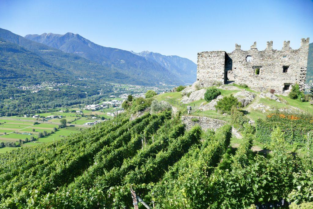 Il panorama sulla Valtellina da Castel Grumello