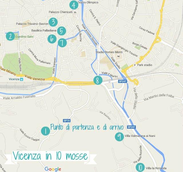 Visitare Vicenza: mappa con l'itinerario a piedi