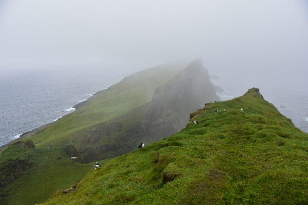 Il faro di Mykines avvolto nella nebbia