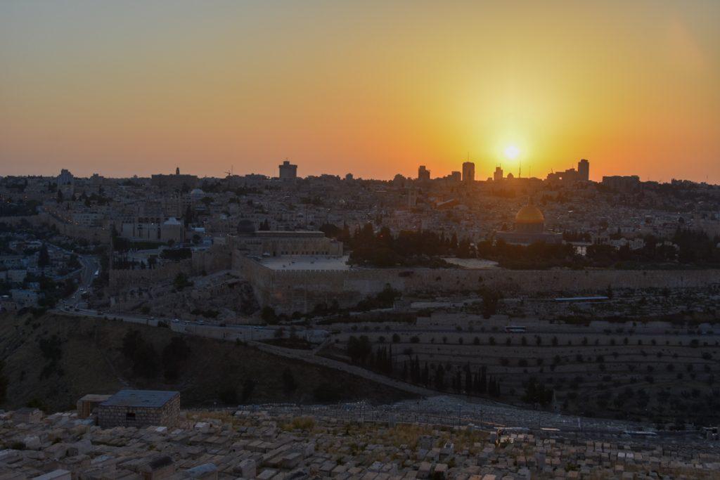 Tramonto su Gerusalemme dal Monte degli Ulivi