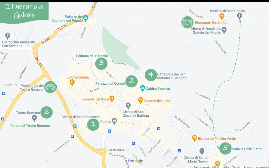 Mappa con le tappe per visitare Gubbio a piedi