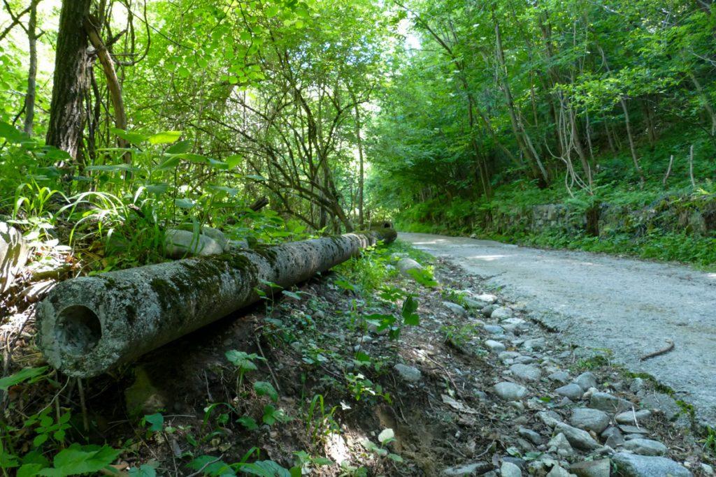La strada cementata che da Introbio porta in Val Biandino
